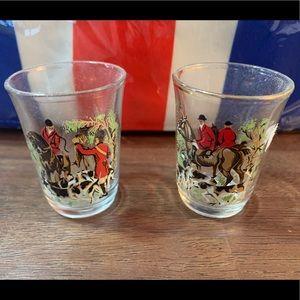 English Fox Hunting Shot Glasses